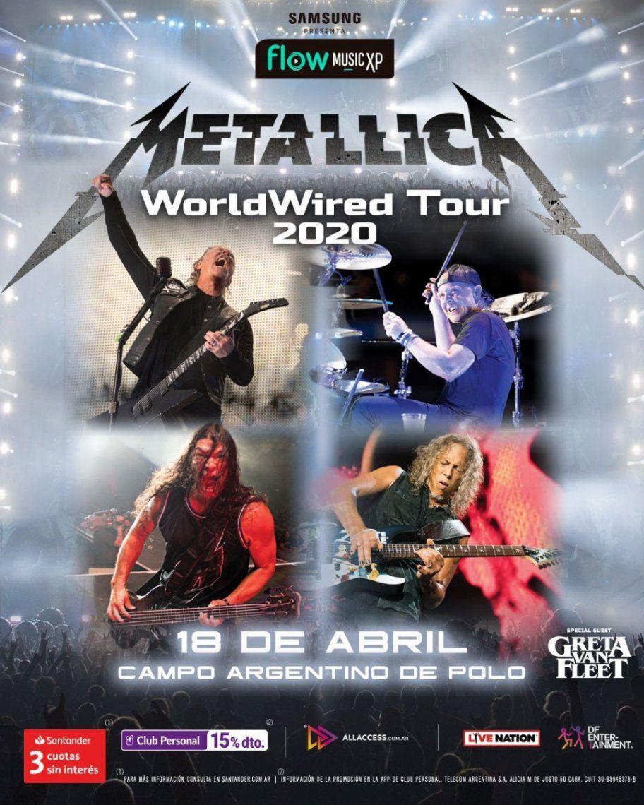 Hoy comenzó la venta general para el show de Metallica en el Campo Argentino de Polo: dónde y cómo comprarlas