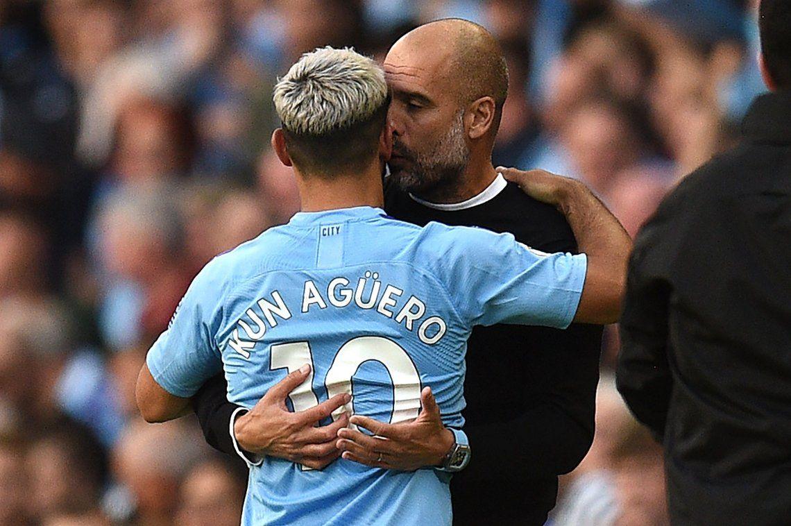 Josep Guardiola y el Kun Agüero discutieron y se reconciliaron con un abrazo en el empate del Manchester City y Tottenham por la segunda fecha de la Premier League