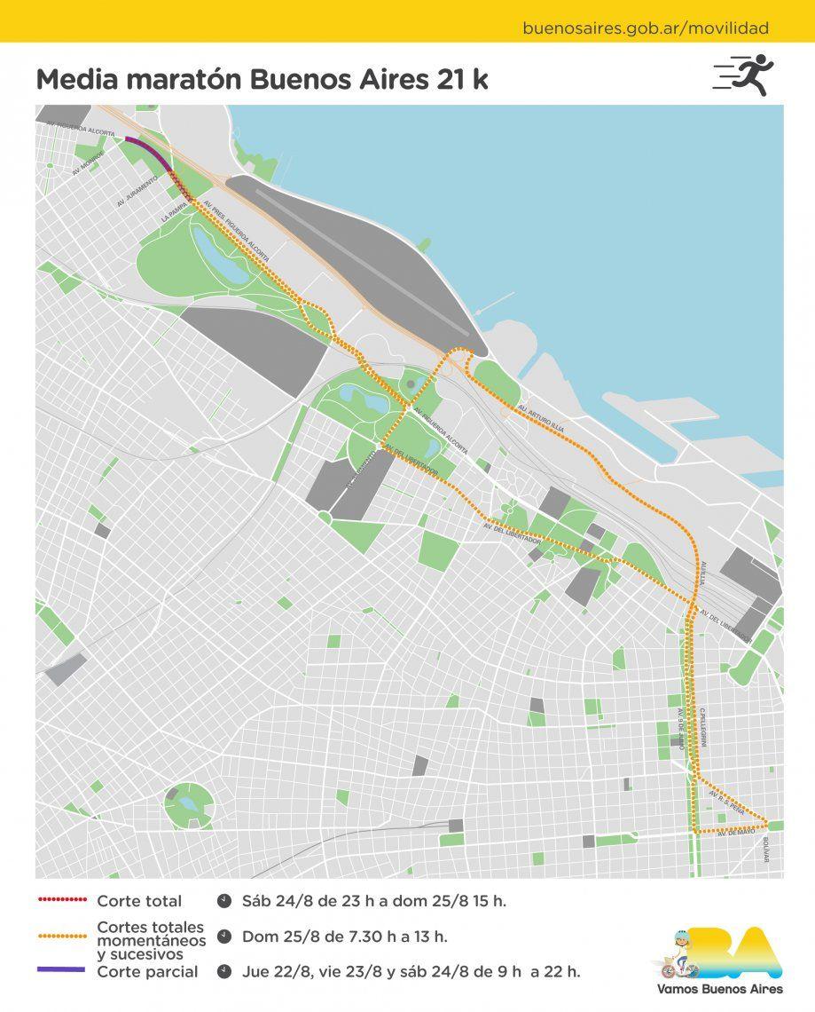 Cortes en varios puntos de la Ciudad por una media maratón