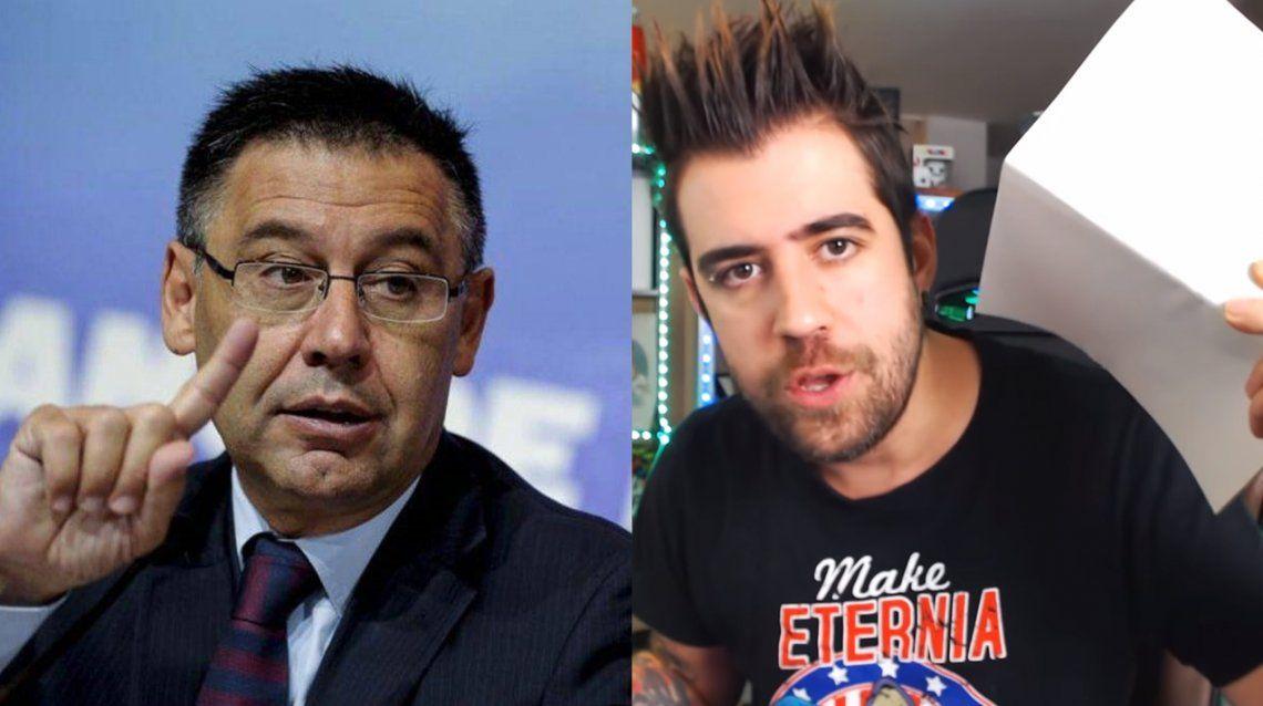El presidente del Barcelona de España, Josep María Bartomeu, denunció al youtuber Auronplay