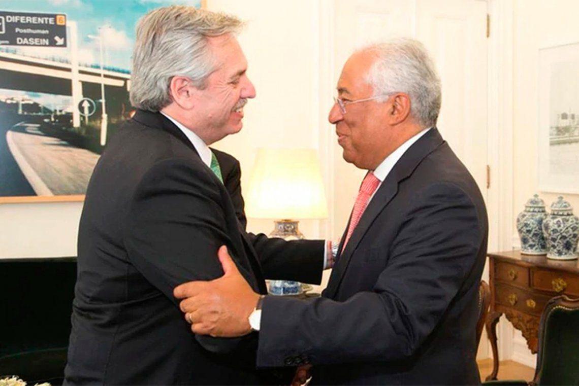 Alberto Fernández fue recibido por el primer ministro de Portugal