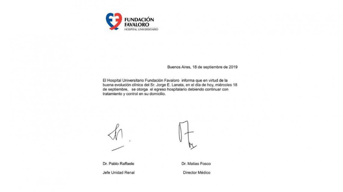 Jorge Lanata fue dado de alta tras haber sufrido una hipertensión pero deberá continuar un tratamiento y realizarse controles periódicos