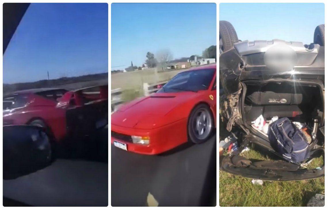 Insólito: volcaron en la autopista por grabar un video de una Ferrari Testarossa