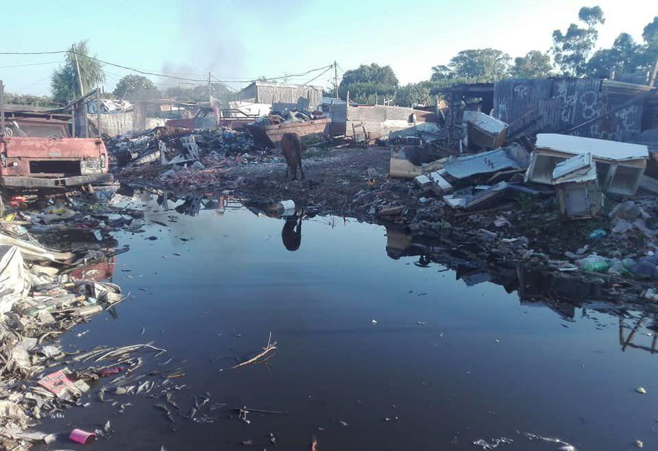 A la obstrucción de las cloacas se le suma la acumulación de residuos.