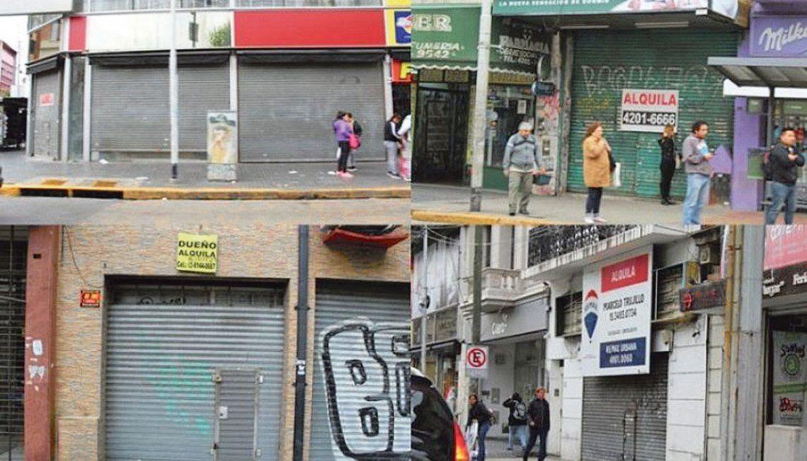Distintas imágenes de sectores comerciales de Avellaneda con persianas bajas.