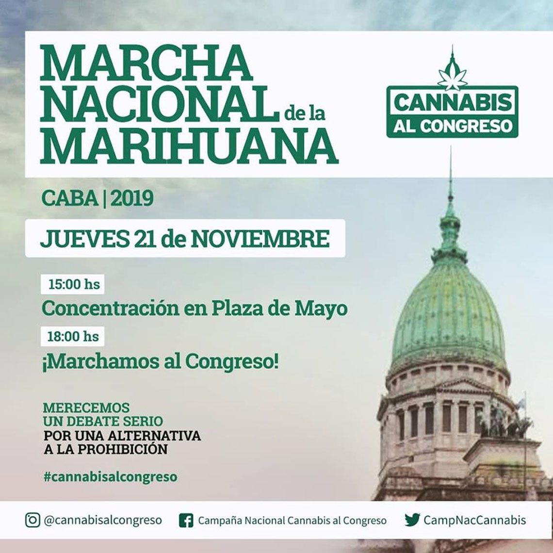 Marcha Nacional de la Marihuana de Plaza de Mayo al Congreso