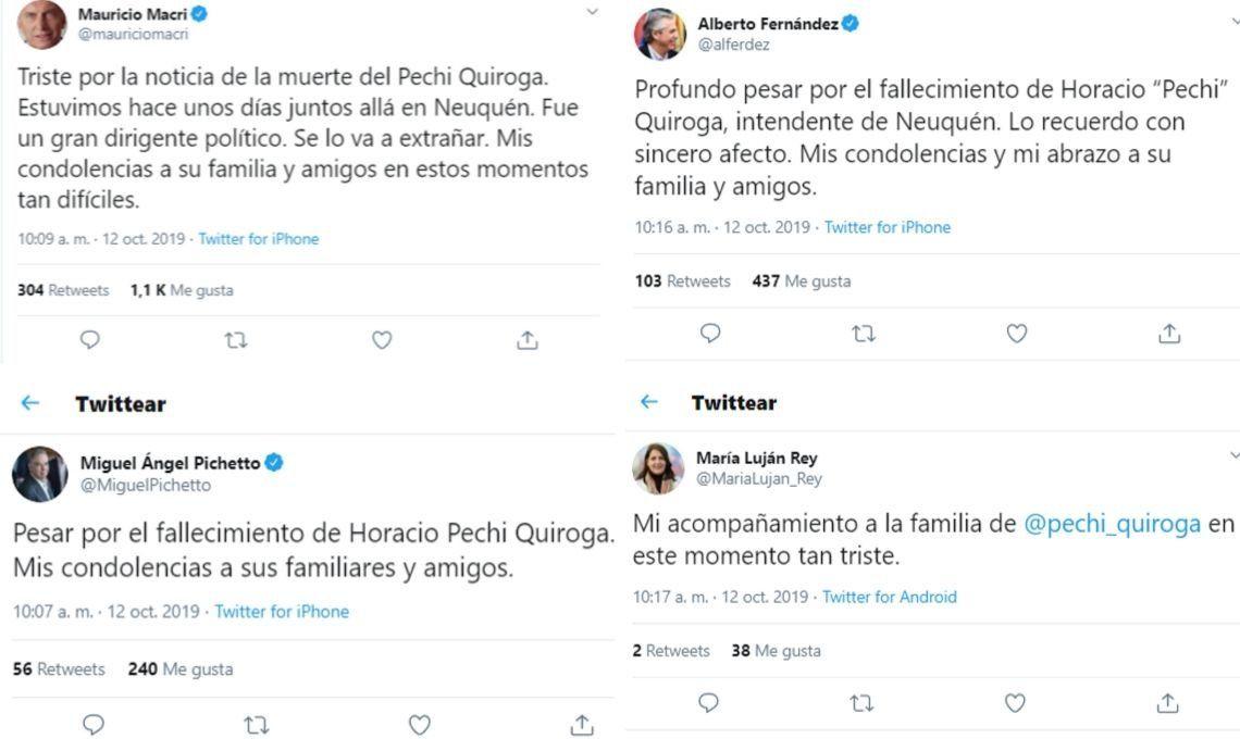 Horacio Pechi Quiroga: Mauricio Macri y Alberto Fernández expresaron sus condolencias por la muerte del intendente de Neuquen