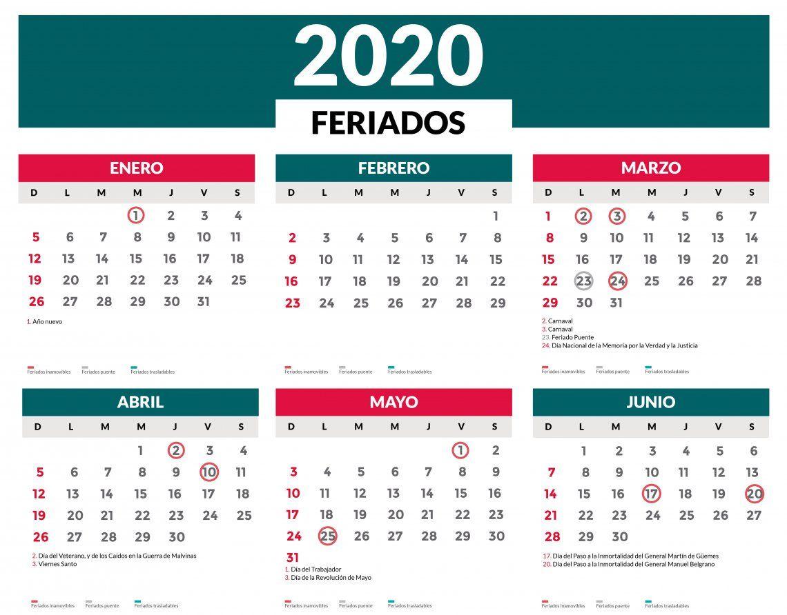Feriados 2020 en Argentina: el calendario completo