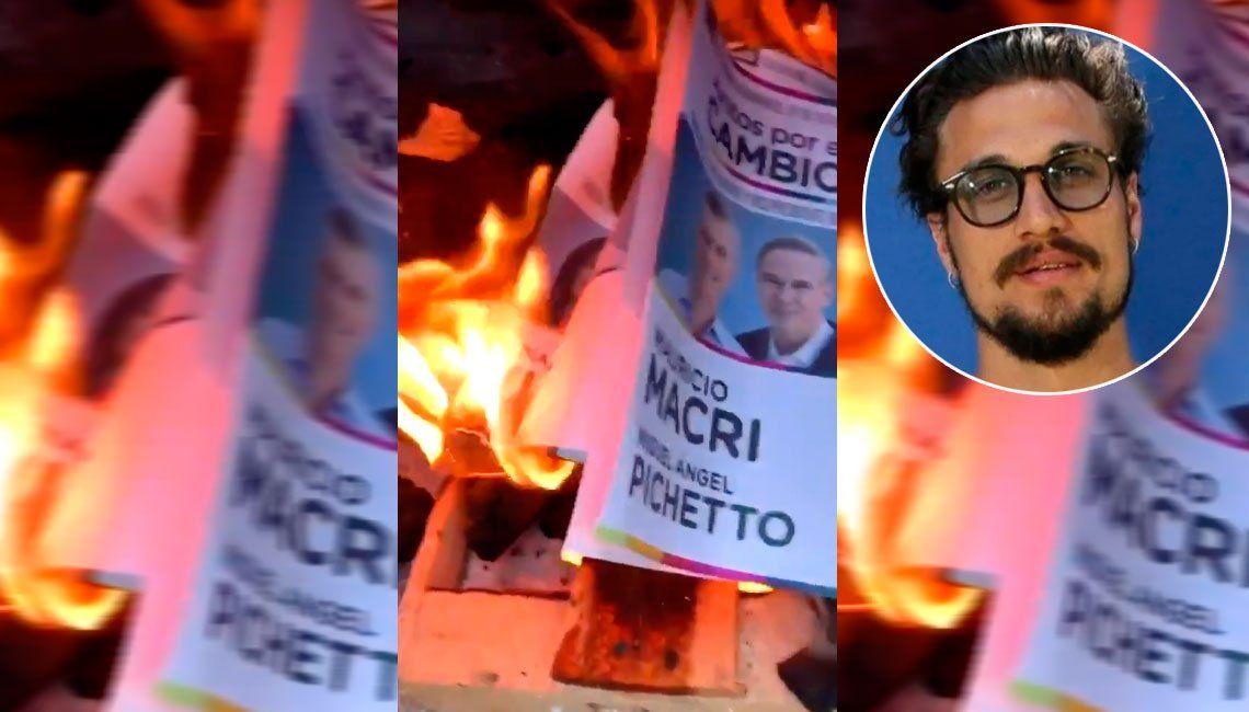 Daniel Osvaldo quemó una boleta de Juntos por el Cambio: Gracias Mauricio, me vinieron bárbaro para prender el fuego