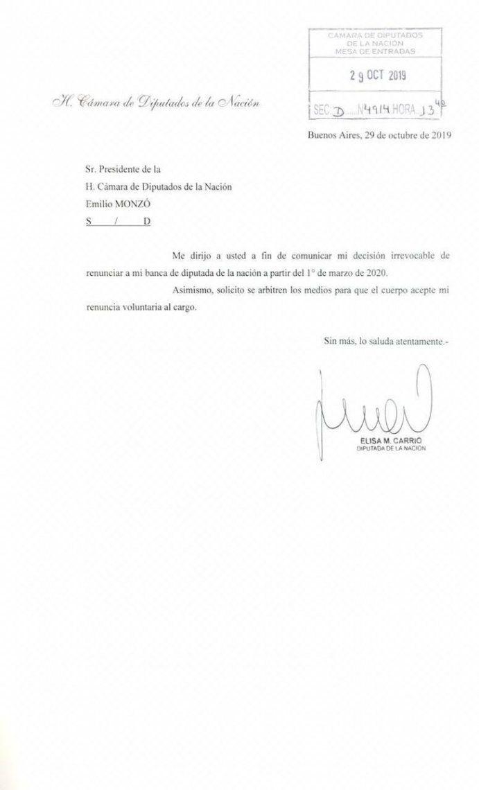 Tras las elecciones generales, Elisa Carrió presentó su renuncia formal a la Cámara de Diputados de la Nación