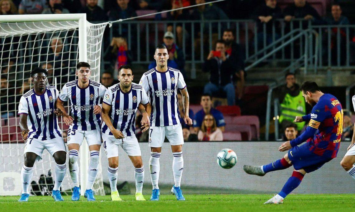 Lionel Messi llegó a 50 goles de tiro libre en una nueva goleada brillante del Barcelona al Valladolid