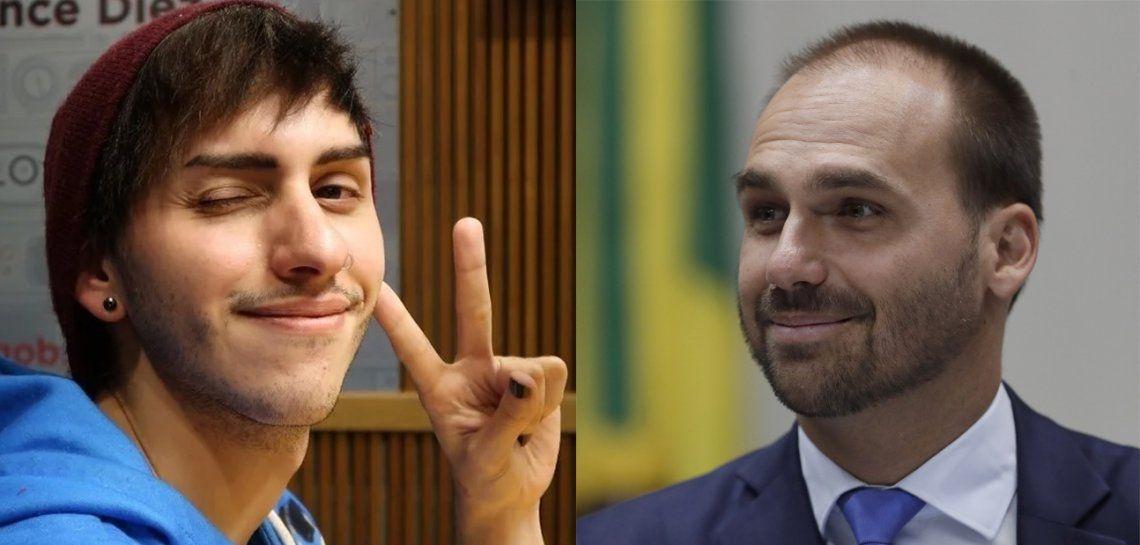 El hijo de Jair Bolsonaro se comparó con Estanislao Fernández disfrazado de Pikachu