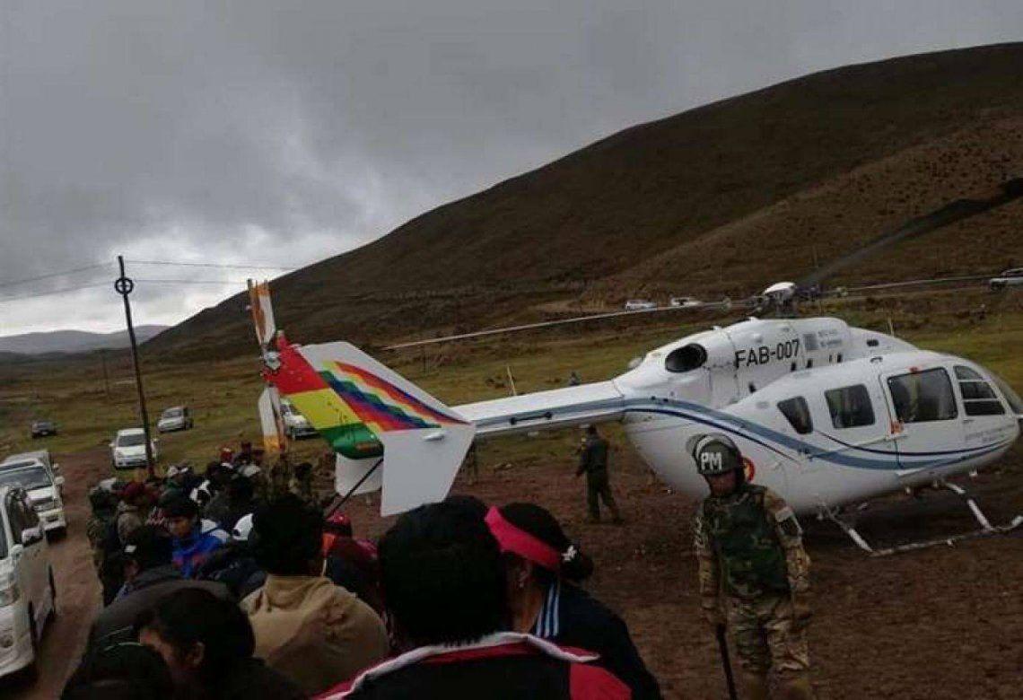 El helicóptero que transportaba a Evo Morales debió aterrizar de emergencia