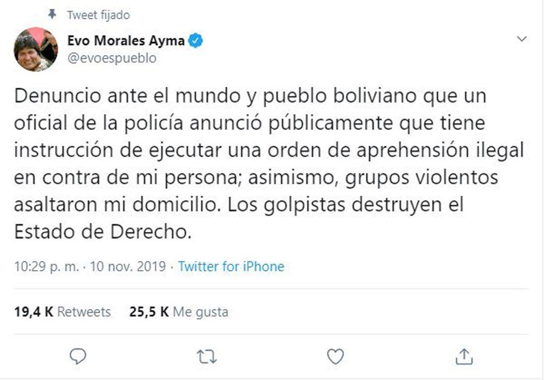 Evo Morales: Hay una orden de aprehensión ilegal en mi contra y asaltaron mi casa