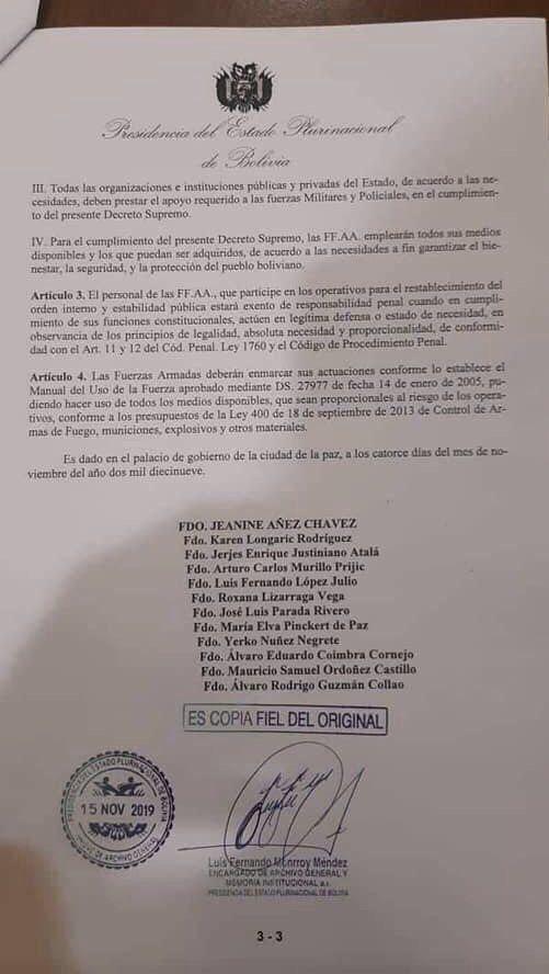 Bolivia: un Decreto Supremo libra de responsabilidad penal a los militares y policías que repriman ilegalmente