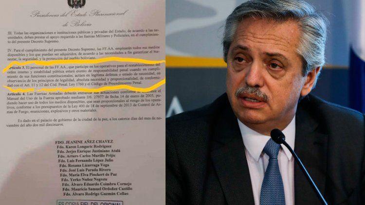 Alberto Fernández repudió el decreto que avala la represión ilegal en Bolivia