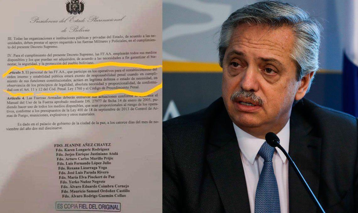 Alberto Fernández repudió el decreto que avala la represión ilegal en Bolivia y pidió la intervención de la ONU