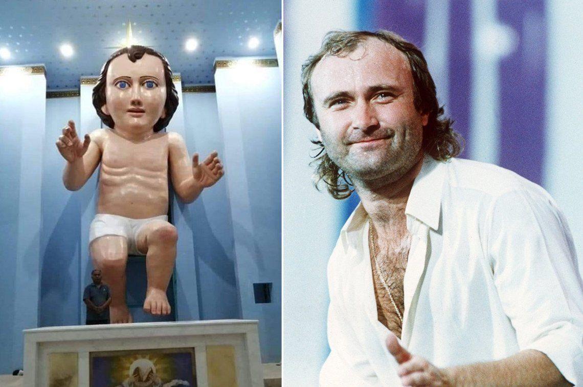 Misteriosa estatua gigante del niño Jesús es idéntica a Phil Collins