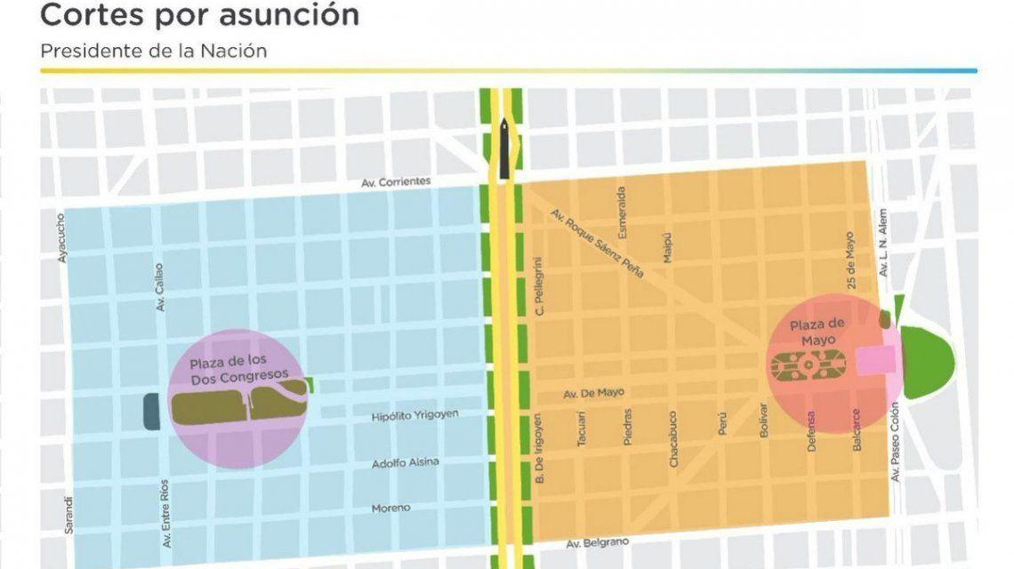 Asunción de Alberto Fernández: el mapa de cortes en la Ciudad