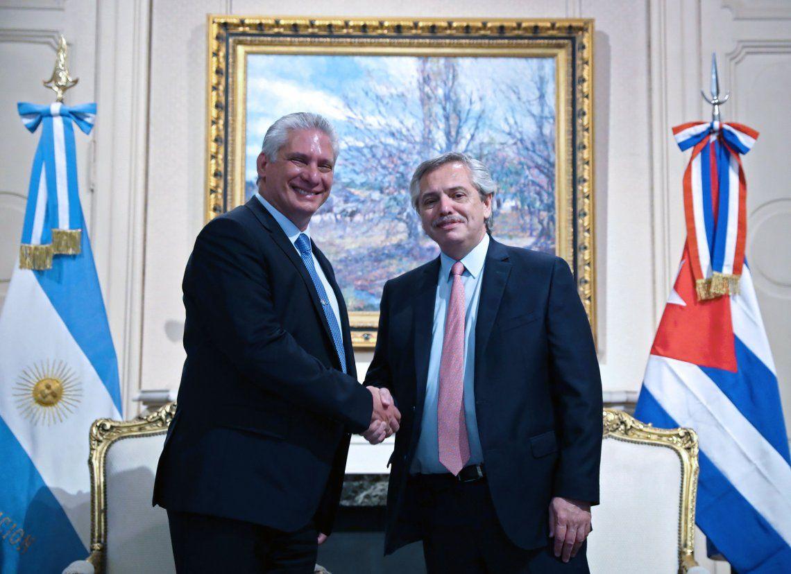 Fernández se reunió con el presidente de Cuba en la Casa Rosada