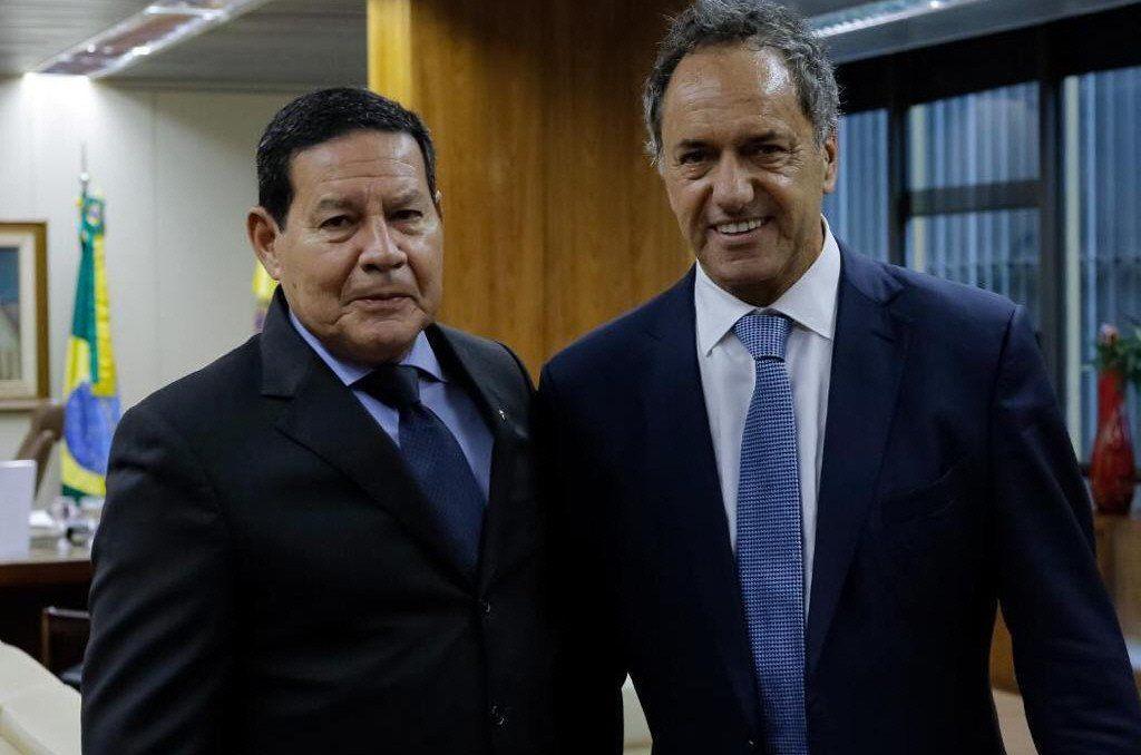 Daniel Scioli en su encuentro con el vicepresidente brasileño.