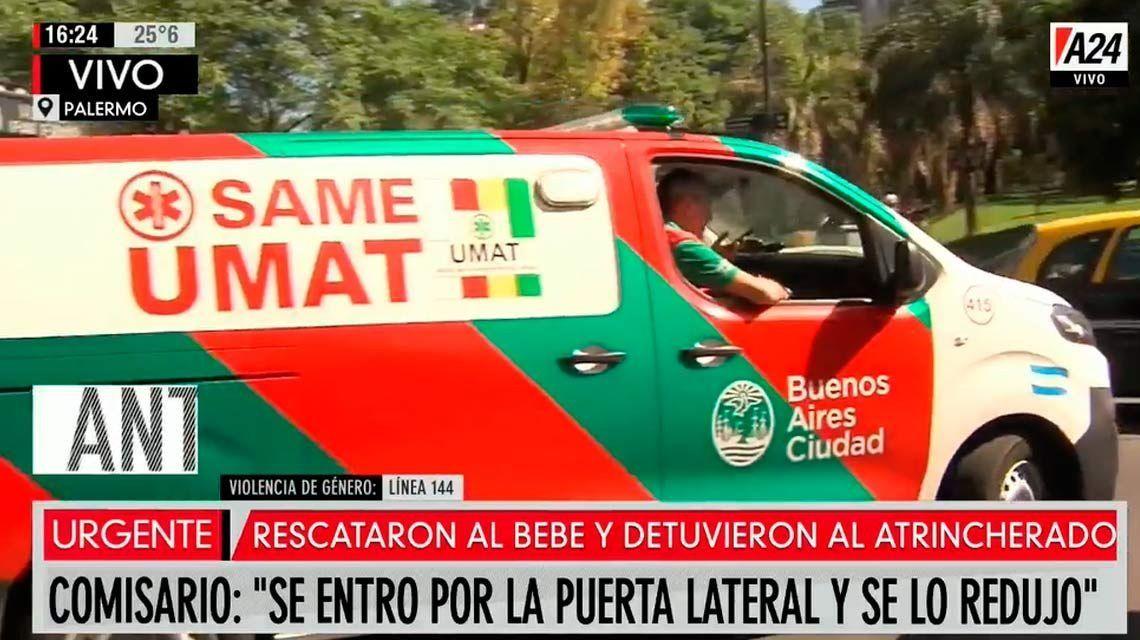 Palermo: un hombre se atrincheró en una ambulancia y amenazó con matar a su bebé