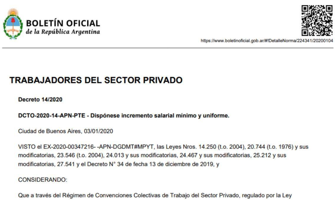 Aumento salarial a privados: el texto completo del decreto que oficializa la medida