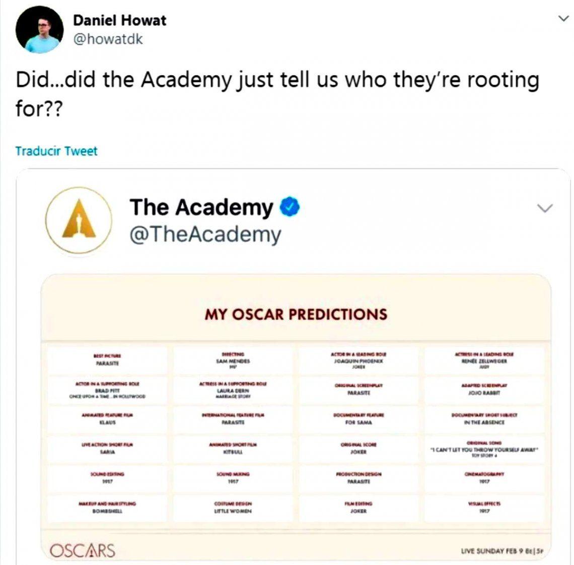 La Academia de Hollywood tuvo que salir a desmentir supuesta filtración de los ganadores del Oscar