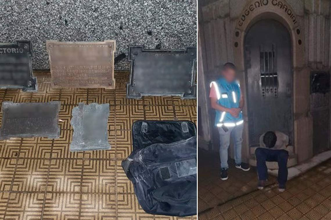 Lo atraparon robando placas de bronce en el cementerio de Recoleta