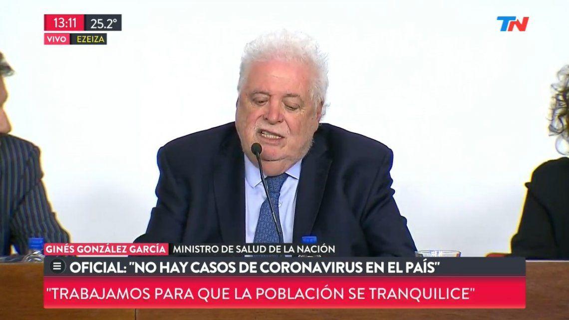 Ginés González García: No hay casos de coronavirus en el país