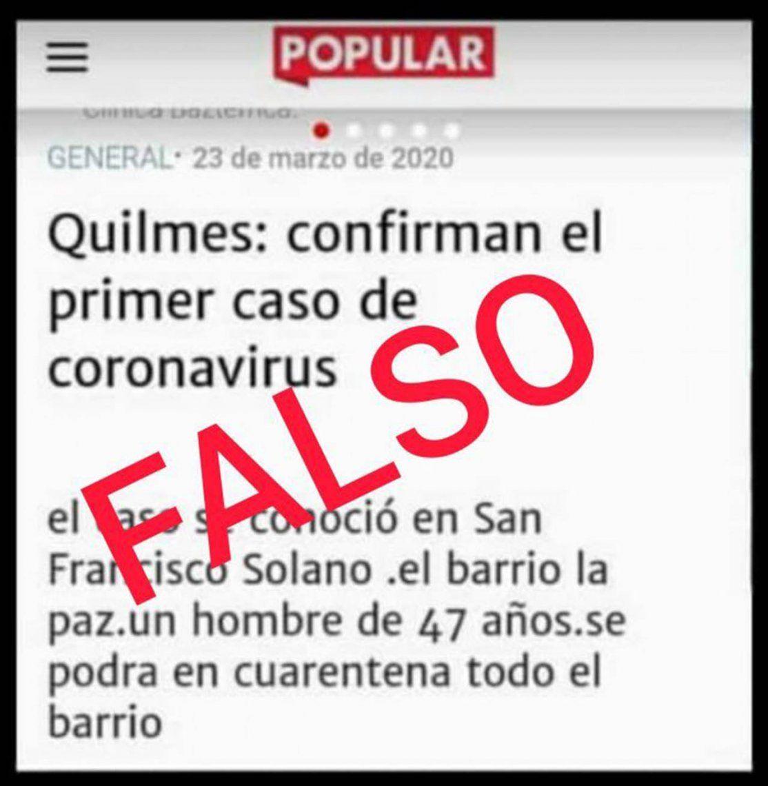 Fake News: viralizan falsa nota de Diario Popular sobre coronavirus