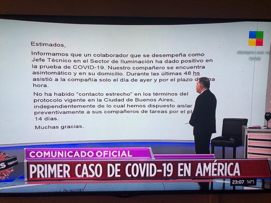 Alerta en América TV: Fabián Doman reveló el primer caso de coronavirus en el canal