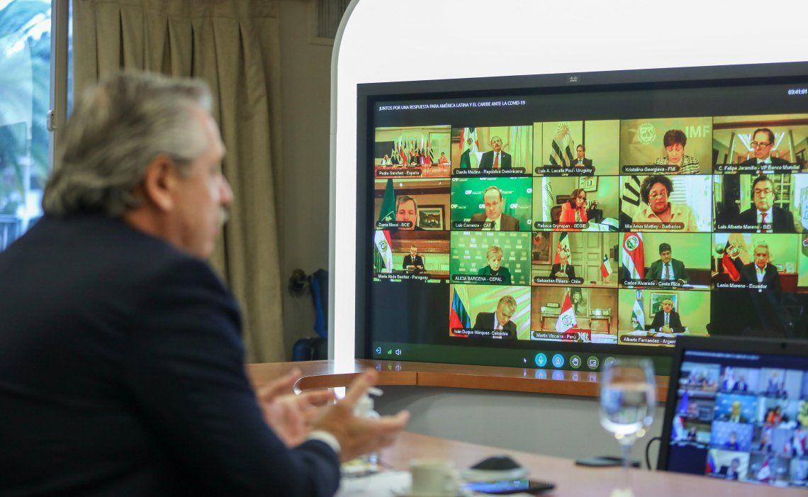 El presidente Alberto Fernández realizó una videoconferencia con los líderes de América Latina