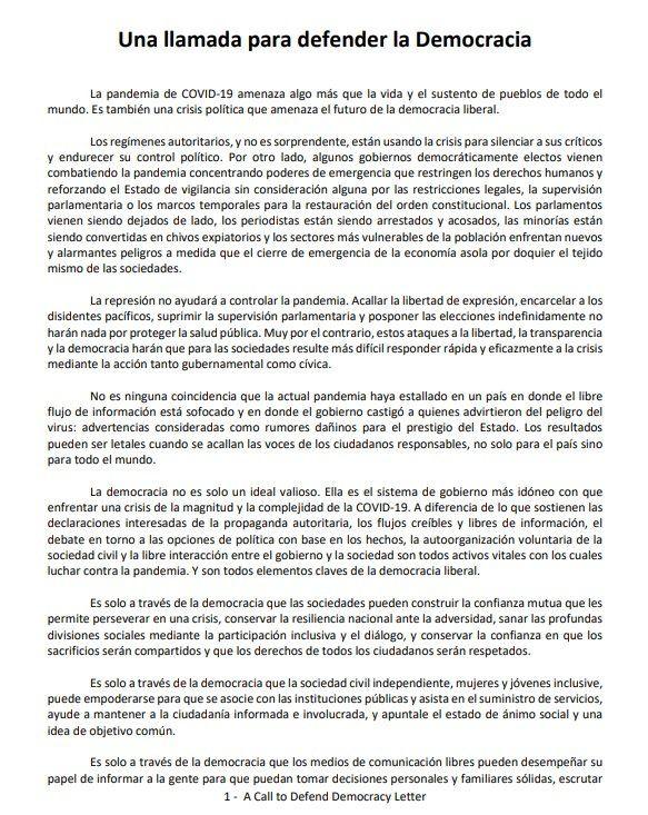 Una llamada para defender la democracia, la polémica carta firmada por Mauricio Macri