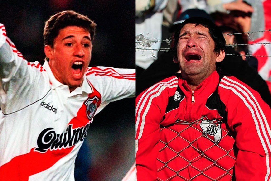 Con un diferencia de 15 años, River vivió dos momentos imborrables: la Libertadores del 96 y el dolor del descenso