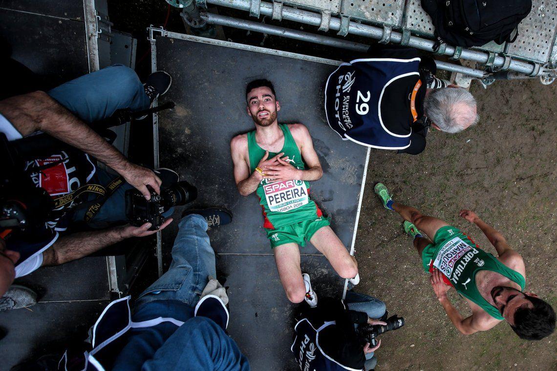 Determinación: oro.André Pereira después del Campeonato Europeo de Cross County en Lisboa