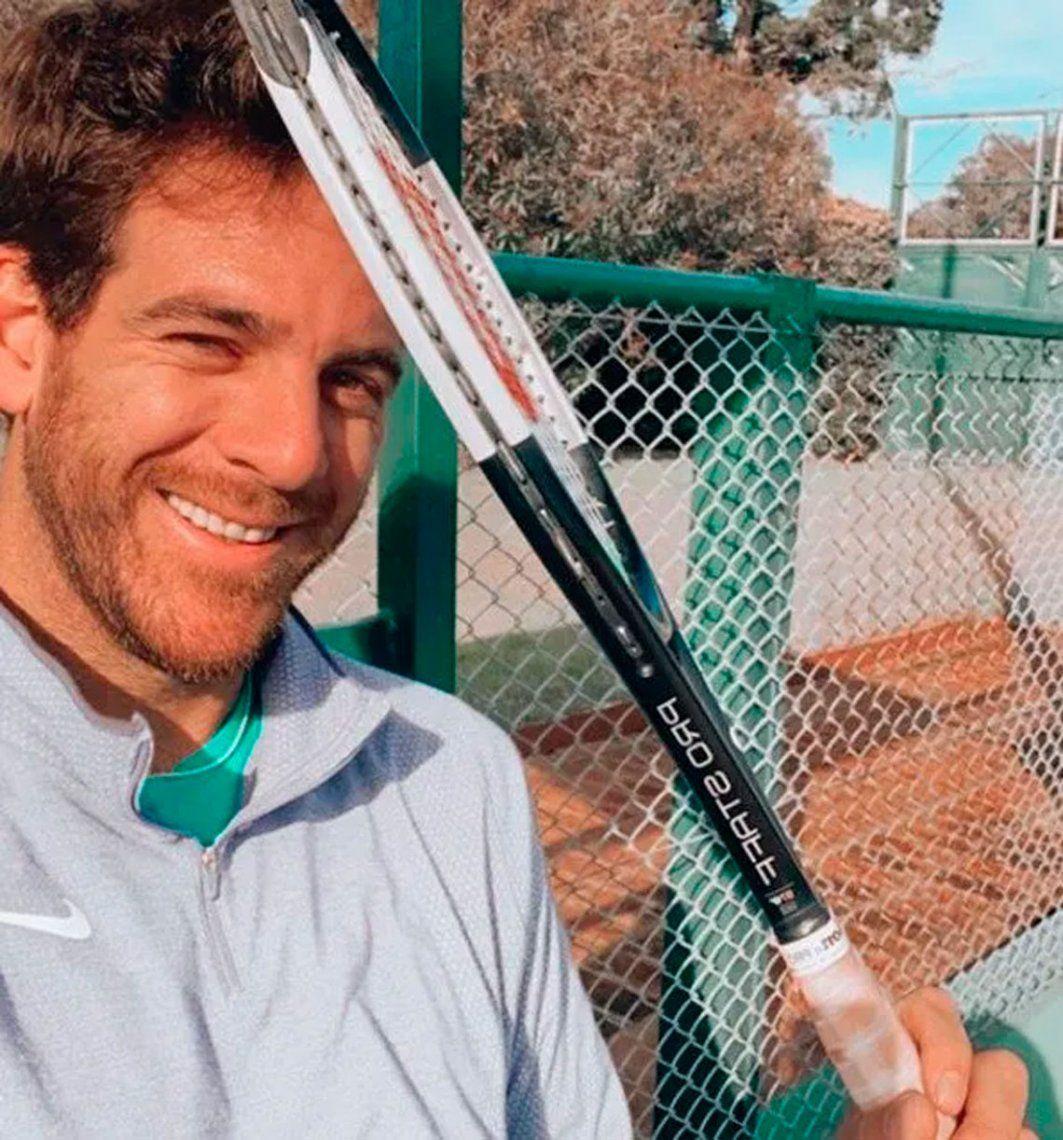Delpo peloteó en el Tenis Club Argentino con Durán y Londero