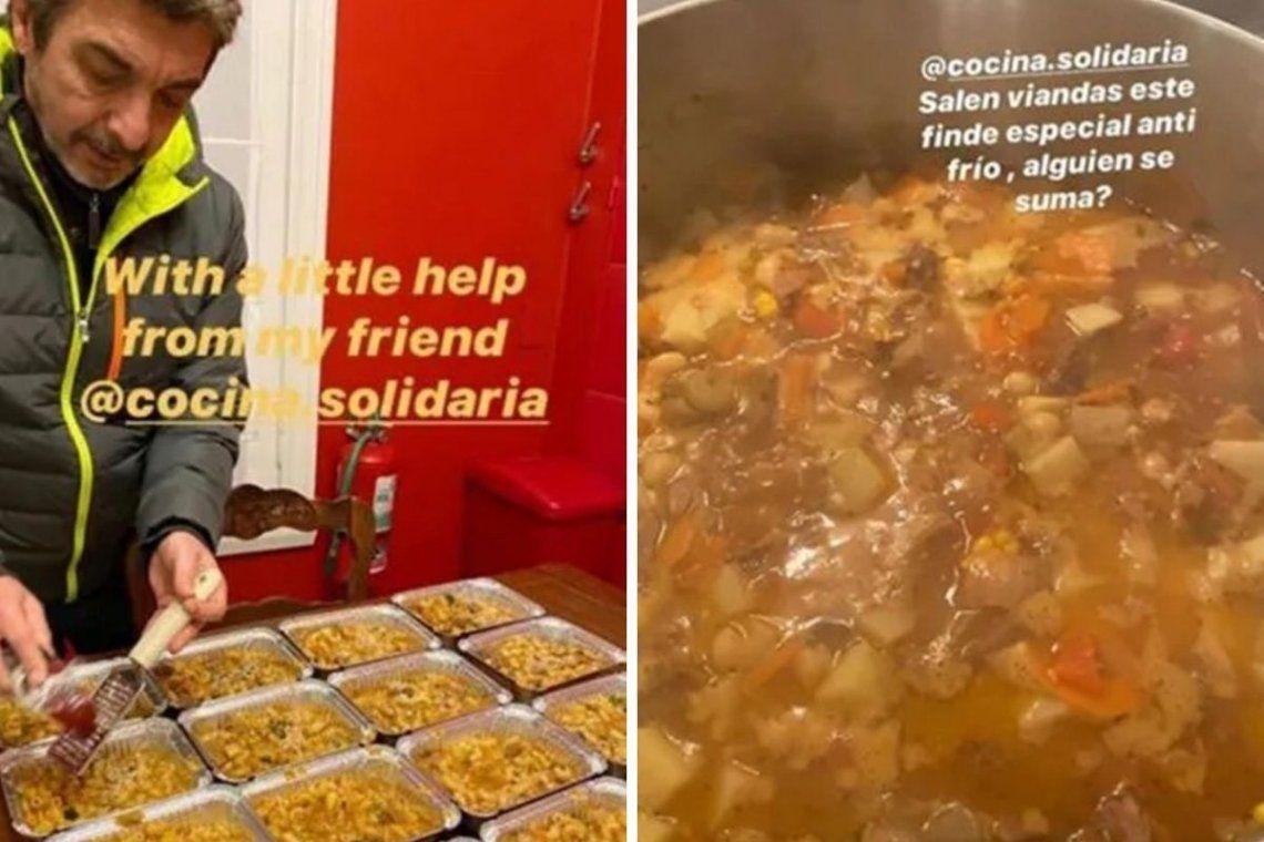 Darín solidario: cocinó guiso para ayudar a personas en situación de calle