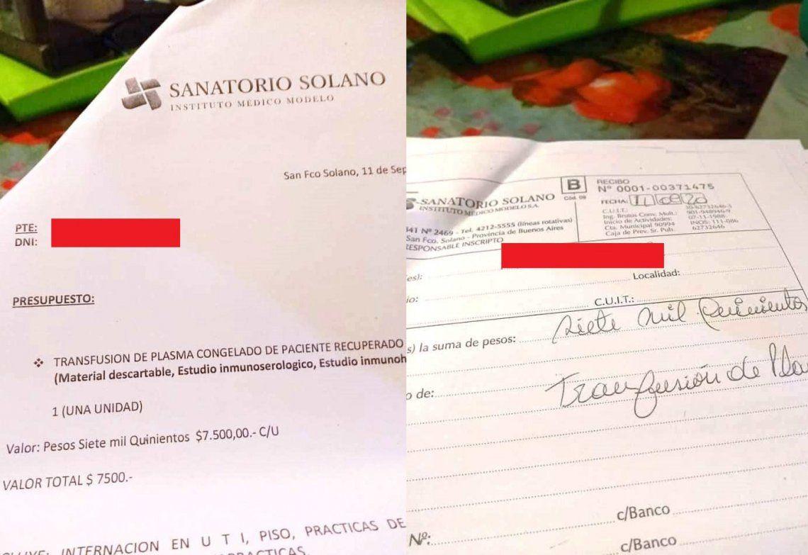 El presupuesto y el recibo que le llegó a la familia del paciente por parte del sanatorio.