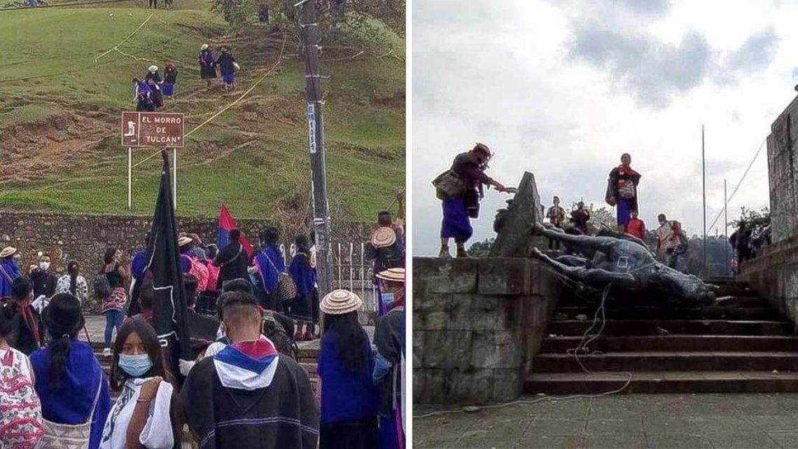 Colombia: indígenas de la comunidad Misak derribaron la estatua de conquistador Sebastián de Belalcázar