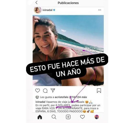 Acusan a Ivana Nadal de haber pedido dólares a sus seguidores