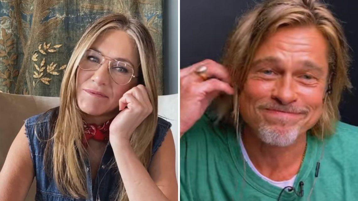 El coqueteo de Brad Pitt y Jennifer Aniston en plena videollamada: Sos muy sexy