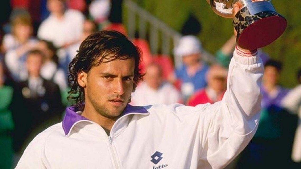 Luli Mancini celebra su título en 1989 tras una batalla contra Agassi.