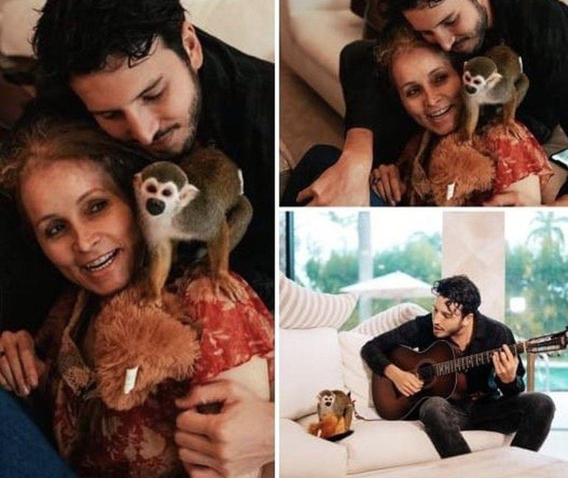 Critican a Sebastián Yatra por tener un mono como mascota