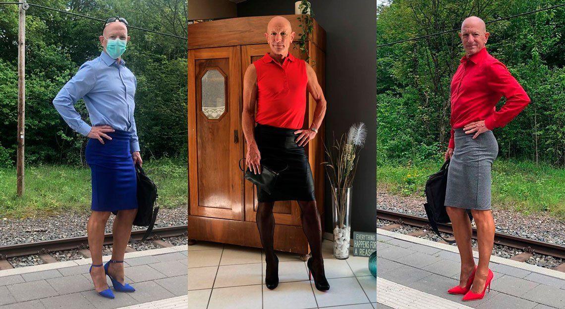 Usa pollera y tacos para demostrar que la ropa no tiene género