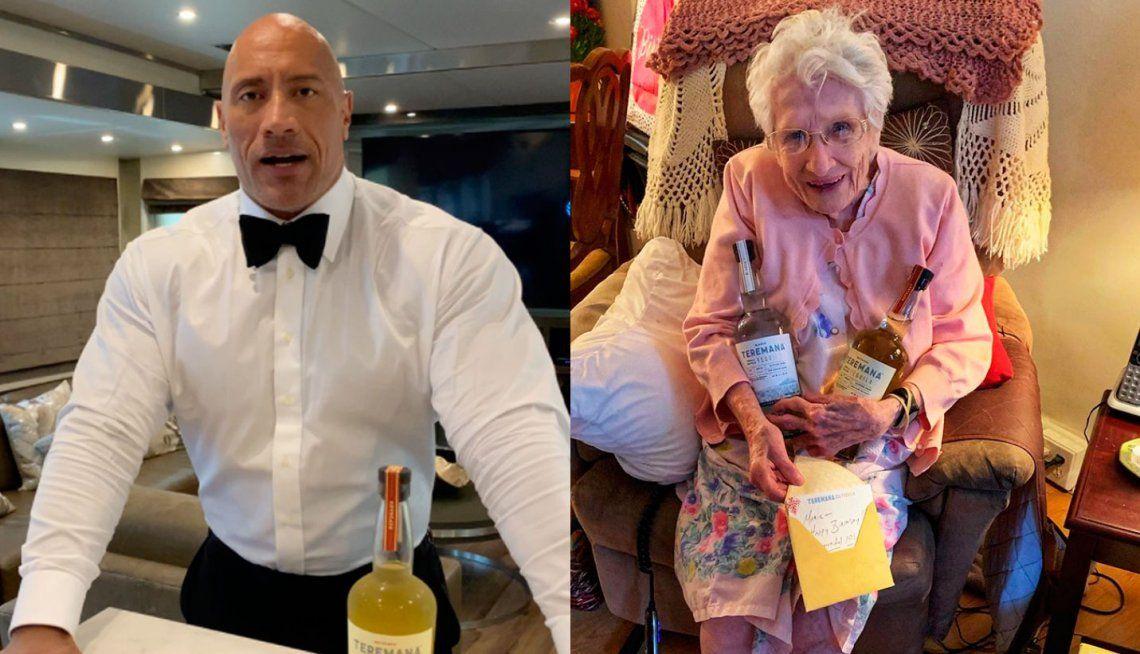 Critican a La Roca por regalarle tequila a una fan de 101 años