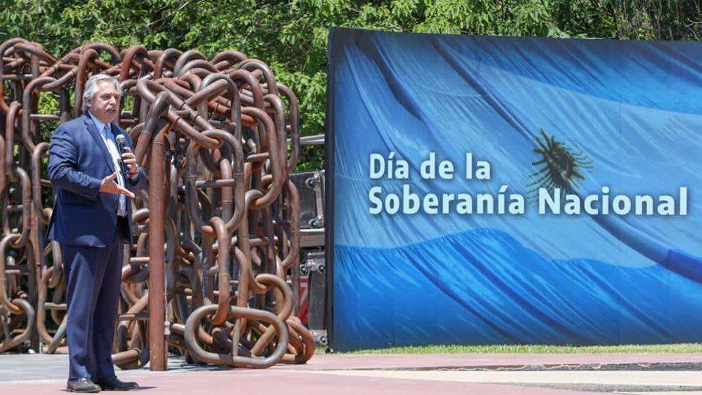Alberto Fernández encabezó acto en San Pedro en acto por el Día de la Soberanía Nacional.