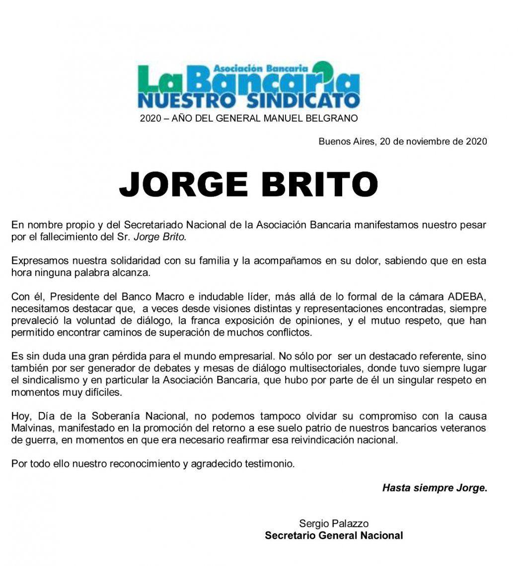El comunicado de La Bancaria por el fallecimiento de Jorge Brito.