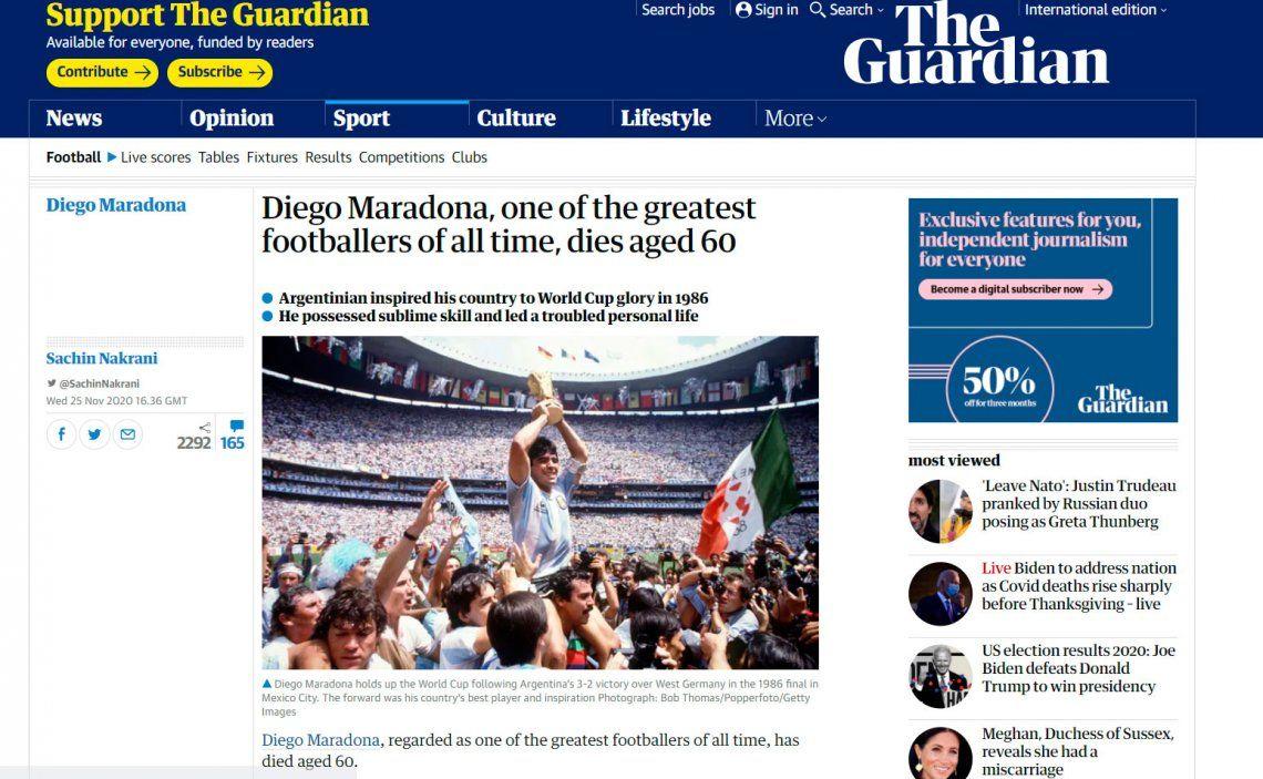 Las tapas de los principales portales del mundo lloran a Diego Maradona