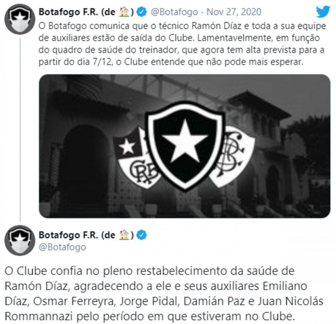 El comunicado de Botafogo